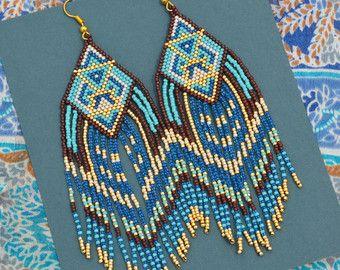 Beaded earrings seed bead earrings Native American by BEhAnDson
