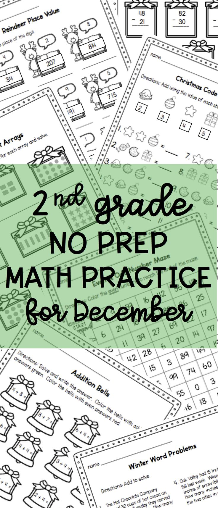 No prep math pages  - 2nd grade math practice and review for December - Christmas worksheets