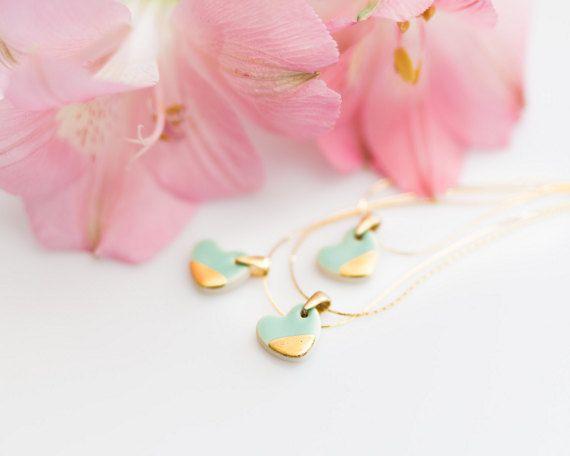 Mint and gold necklace Ceramic pendant Mint and gold wedding Mint heart necklace Heart pendant 24k gold Porcelain pendant Artisan necklace
