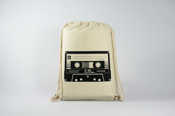 The cassette - Find it here: http://www.officineberlinesi.com/shop/classic-gymsacks/cassette-gymsack/ #backpack #bag #canvasbag #canvastote #beutel #sac #rucksack #mochila #handmade #sacfourre-tout #screenprinting #taschen  #berlin #funny #beers #music #eighties
