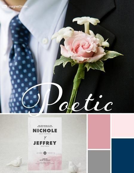 Wedding Color Trends    Fall Wedding Color Palette: Blush, Cream Rose, Classic Gray, and Navy   MagnetStreet Weddings