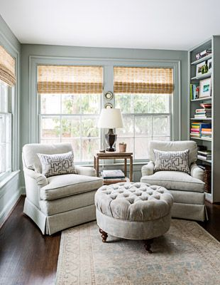 Sally Steponkus Interiors Sunroom grass shades custom upholstery oushak rug Farrow & Ball Light Blue #ssiprojectrodman