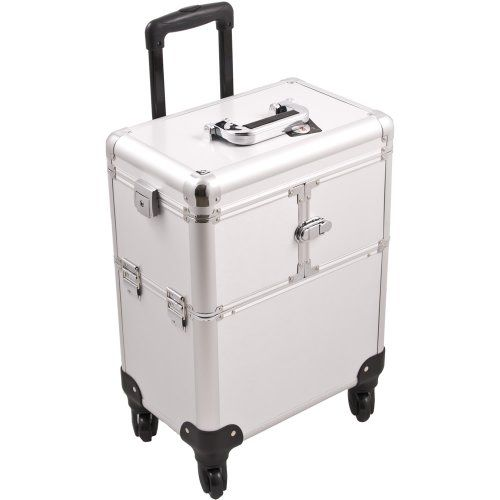 SUNRISE Professional Makeup Case on Wheels, Two 3 Tier Trays, 4 Wheel Spinner, Locking with Mirror, Silver -- To view further for this item, visit the image link.