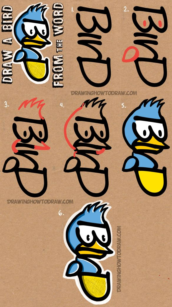 How to Draw a Cartoon Bird from the Word BIRD with Easy Steps Tutorial for Kids