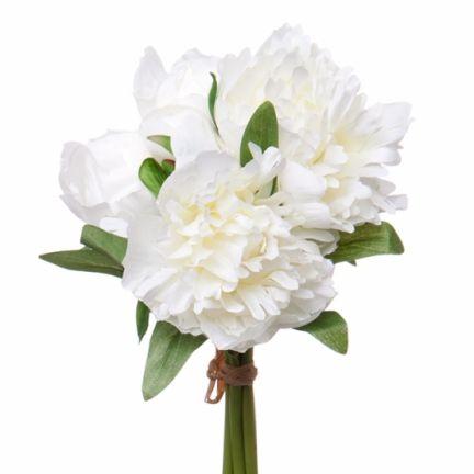 Peony Amber Bouquet 2Flw & 3Buds 26cmST. White