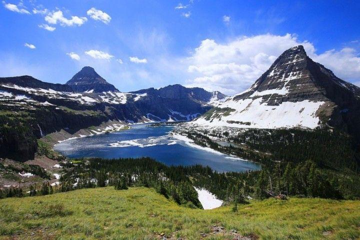 Hidden Lake a Bearhat Mountain (vpravo) - Národný park Glacier, Národné parky v USA