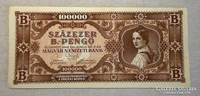 100000 B.-Pengő Bankjegy  1946