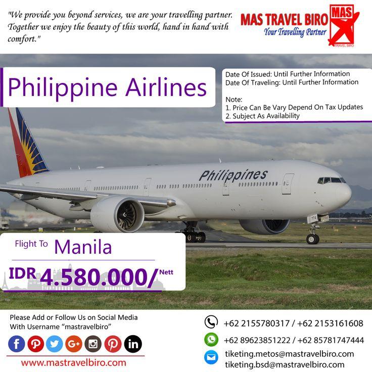 HOT PROMO Tiket Philippine Airlines, Cek yuk Sekarang selagi ada!  Beli tiket pesawat & KAI, booking hotel dan beli paket tour diMas Travel Biro ajaa.  #mastravelbiro #promotiket #travelservices #tiketpesawat #travelagent #tourtravel #travelindonesia #opentrip #familytour