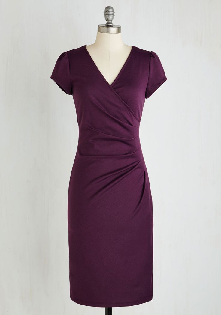 I Think I Can Dress in Plum - Purple, Solid, Work, Sheath, Short Sleeves, Knit, Good, Long