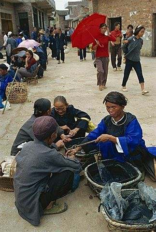 Indigo for sale in the market near Sandu, Guizhou.