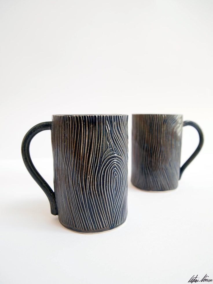 Stoneware slabwork pottery mugs (with custom lino-cut wood texture).