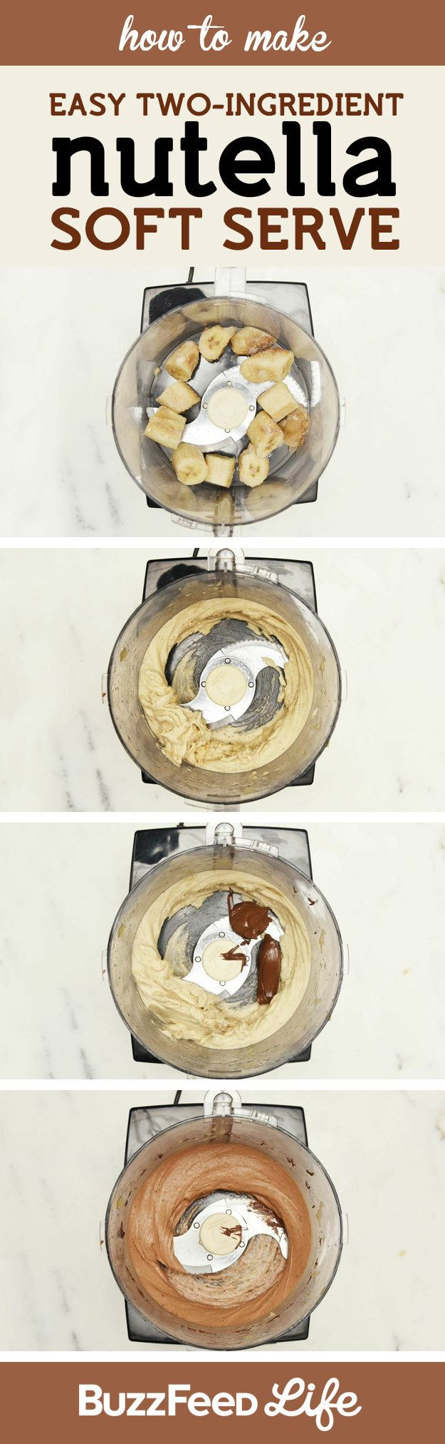 Easiest DIY soft serve ever: Just pulse frozen bananas + Nutella in a food processor.
