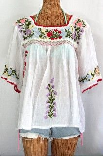 "Siren ""La Marina"" Mexican Embroidered Peasant Blouse -Classic White $52.95"