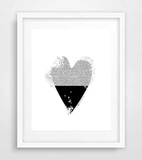 Black heart, heart art, anniversary gift, printable, modern wall art, living room, minimalist, nursery, scandinavian decor by Ikonolexi on Etsy