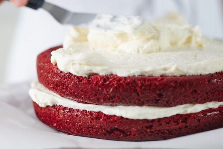 Best homemade red velvet cake recipe. This moist, delicious, classic recipe is EASY to make from scratch. Impressive Southern desserts recipes like this are always crowd pleasers - no one has to know how simple it is to make! Try it as cupcakes too.