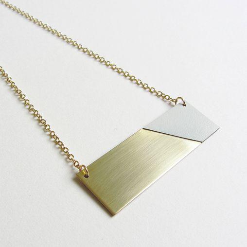 Brass grey necklace