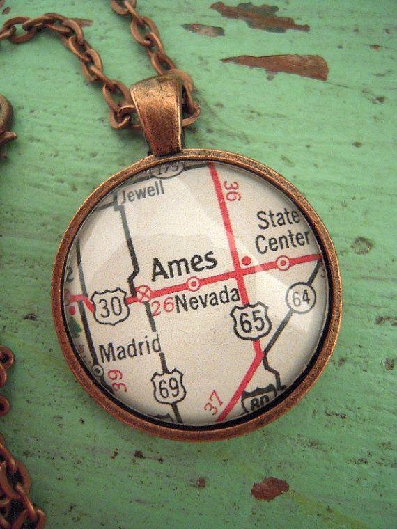 Vintage Ames Iowa State University Map Pendant Necklace