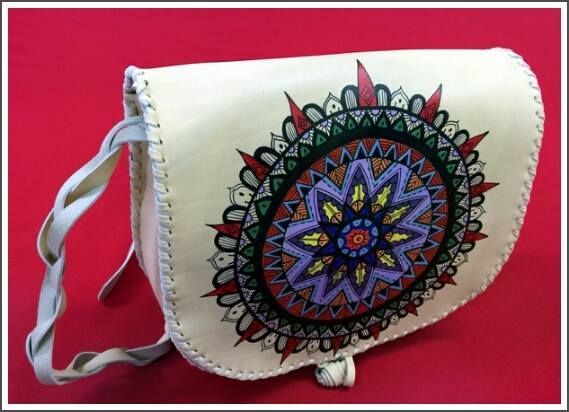 """Mandala"" Handmade painted mandala bag.Ist made from  white creamy leather and the painting ist made with special colours for leather. #handmade #mandala #leather #leatherbag #painting on leather #leathercrafting"