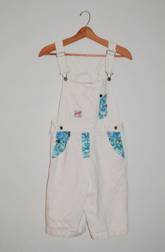 Back to School....Vintage 80s Overall Shorts 80s Gitano White by founditinatlanta, $40.00