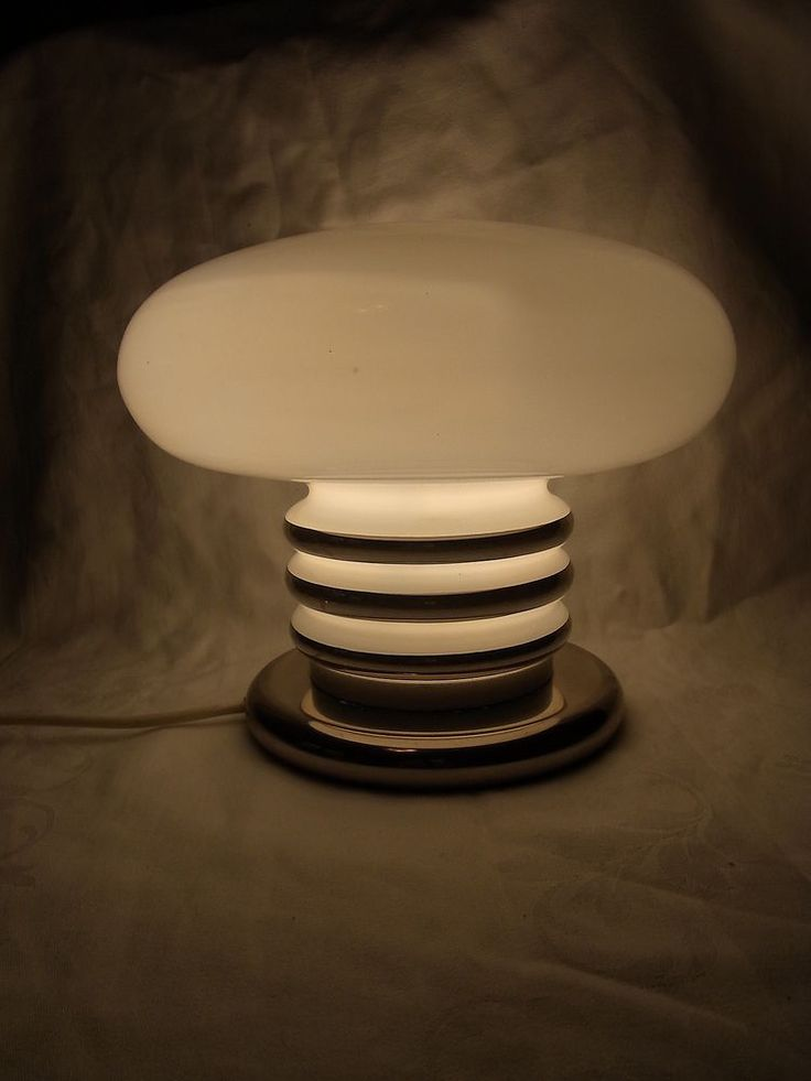 Schöne 70er Mid Century Tisch Lampe Opal Glas Chrom Desk Lamp Leuchte #