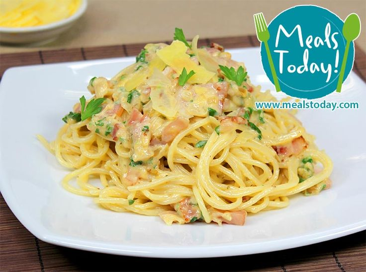 Spaghetti Carbonara with Crispy Bacon, caramelized Onion Slices, infused with Garlic Chips & fresh Parsley  Available to order now, for delivery on Tue 18th November  www.mealstoday.com    #mealstoday
