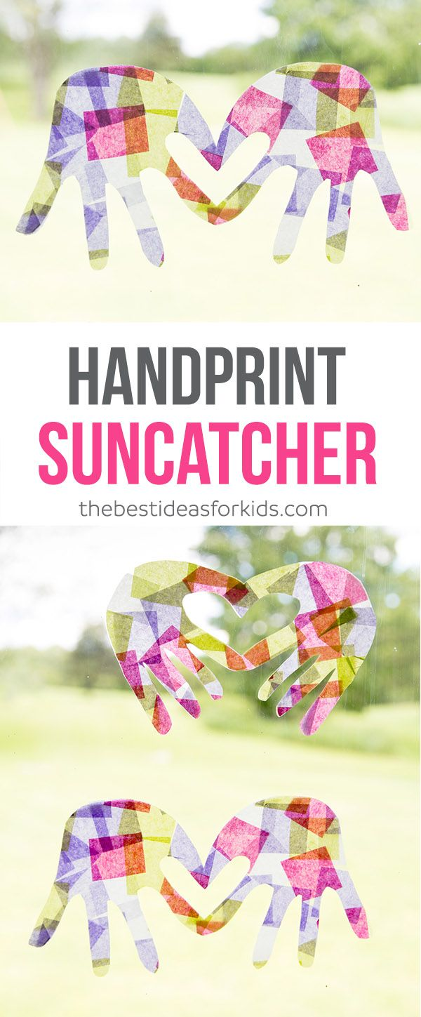 Make these beautiful handprint suncatchers kids craft. These are great for kids to make and give as a gift to mom and day. Perfect for preschoolers and kindergarten! via @bestideaskids