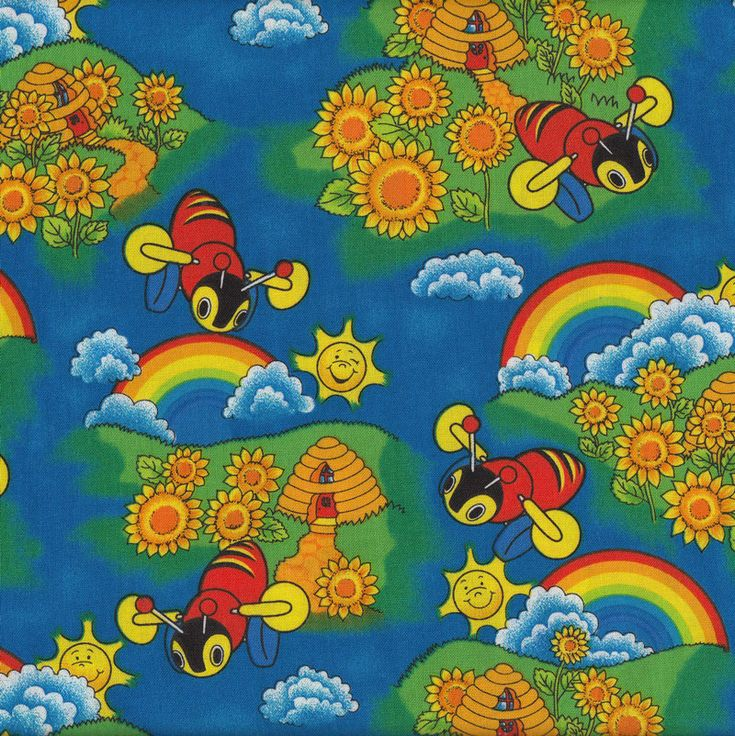 Buzzy Bees Rainbows Sunflowers New Zealand Kids NZ Quilt Fabric - Find a Fabric.  Available to purchase in Fat Quarters, Half Metre, 3/4 Metre, 1 Metre and so on.