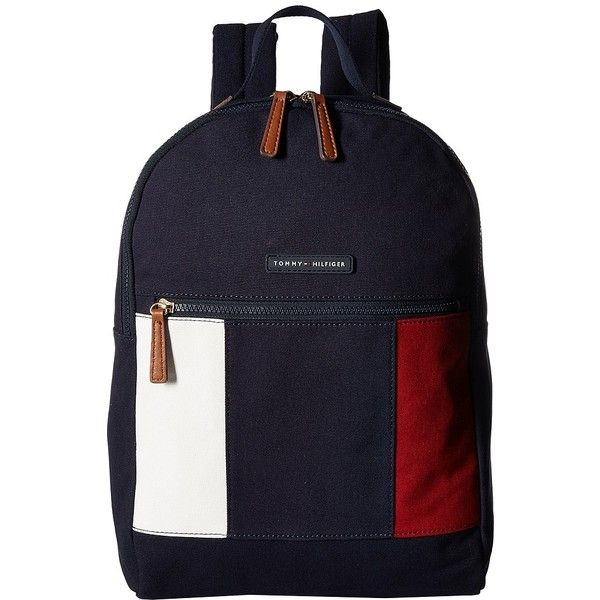 Tommy Hilfiger TH Flag Canvas Backpack (Navy) Backpack Bags ($88) ❤ liked on Polyvore featuring bags, backpacks, navy blue canvas backpack, blue backpack, canvas zip bag, canvas bags and flat backpack