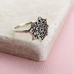 Sterling Silver Mandala Ring - rings