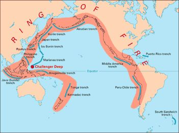 "The ""Ring of Fire"", also called the Circum-Pacific belt, is the zone of earthquakes surrounding the Pacific Ocean- about 90% of the world's earthquakes occur there. The next most seismic region (5-6% of earthquakes) is the Alpide belt (extends from Mediterranean region, eastward through Turkey, Iran, and northern India.From ""This Dynamic Earth: The Story of Plate Tectonics"""