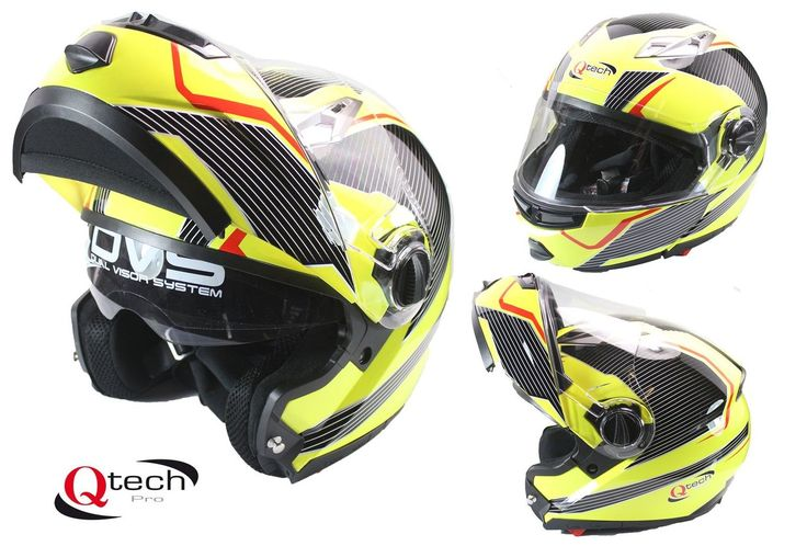 MOTORCYCLE Modular Flip-Up Crash Helmet Double SUN Visor GRAPHIC Yellow | eBay