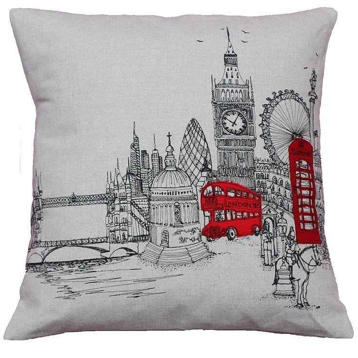 london landmarks printed stitch cushion by lara sparks embroidery | notonthehighstreet.com