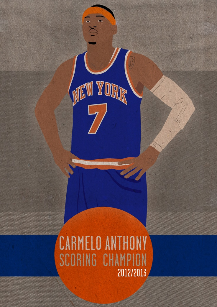 In honour of the Knicks getting to the playoffs, Chris (EuphioDesign) and I decided to collaborate on an illustration project.   As Carmelo Anthony won scoring champion I decided to illustrate this achievement. This image is 1 of 4 from the project, others will follow on completion :)