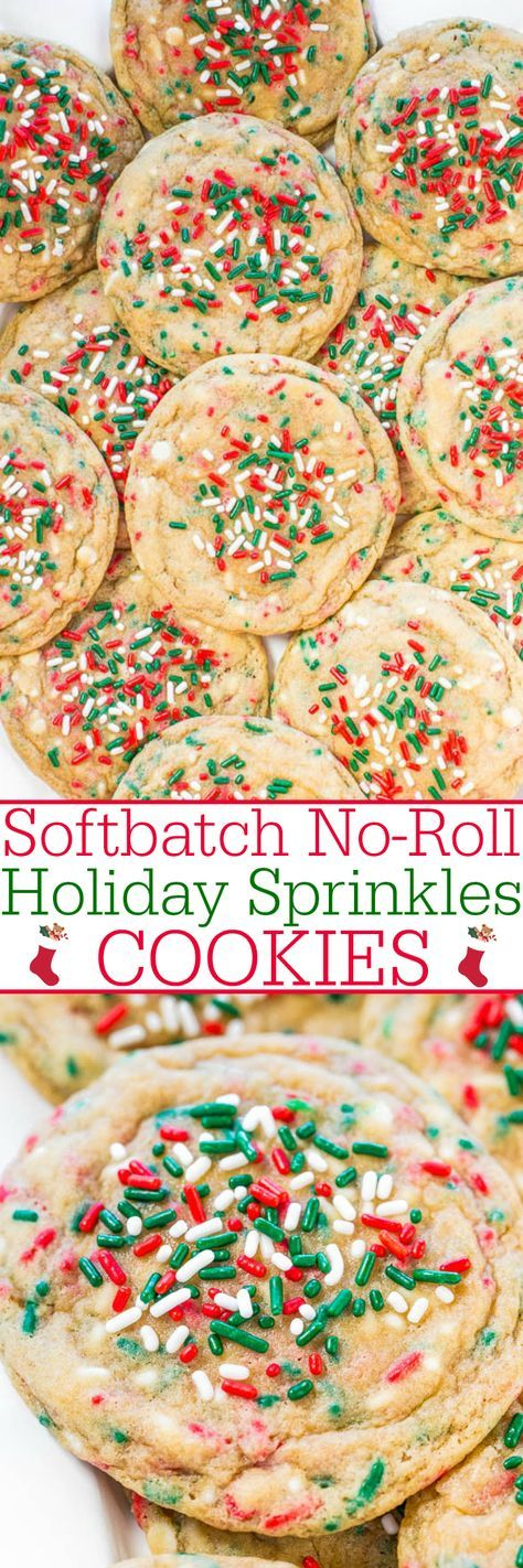 Softbatch No-Roll Holiday Sprinkles Cookies - No-roll dough with sprinkles baked in so you don't have to decorate cookies!! Big timesavers! Everyone loves these soft, buttery cookies loaded with sprinkles!!