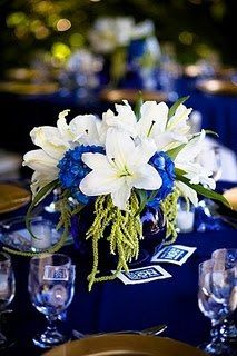 Royal Blue reception wedding flowers,  wedding decor, wedding flower centerpiece, wedding flower arrangement, add pic source on comment and we will update it. www.myfloweraffair.com can create this beautiful wedding flower look.