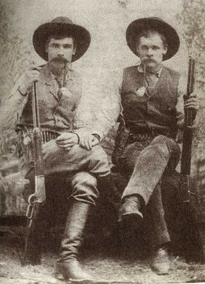 """Two of the 5 Marlow brothers, Charles on the left and George on right ... the saga of the Marlow Brothers is a complex and very involved story. It's so involved that several books have been written about the incident, which happened in and around Graham, Texas in 1888 to 1891. The movie """"The Sons of Katie Elder"""" (starring John Wayne) was based on the events of this story.  10 innocent people died needlessly in this tragic story."""