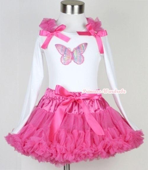 Ярко розовый юбка с радуга бабочка печать белый топ с длинными рукавами с ярко розовый оборками и ярко розовый с бантом MAMW170