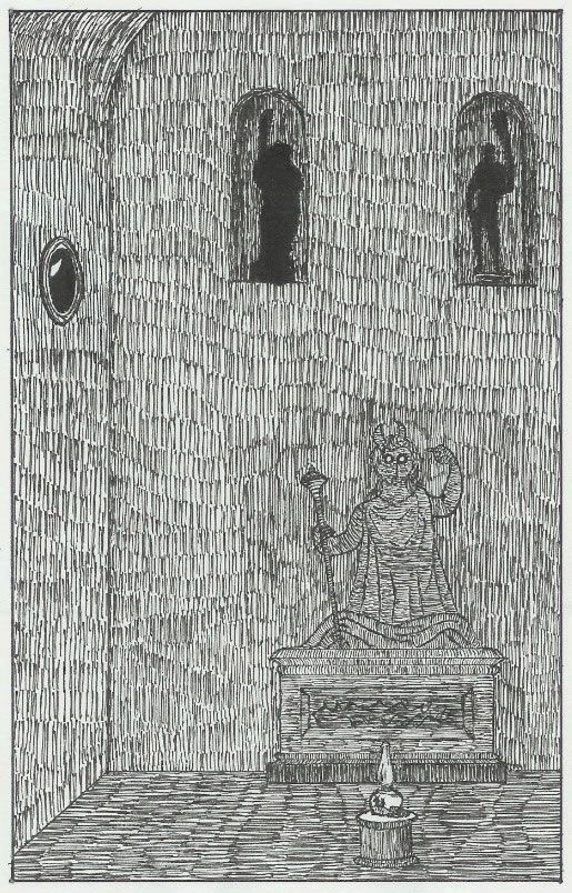 """From the archives: """"...a pen-and-ink reproduction of the frontispiece of 'Lamp.' The only problem with it is that the ink strokes are in 'rows' that go across the whole darn thing, and Gorey's ink-stroke patterns were randomly done in irregular splotches, which is overall a better effect. Other than that, it looks pretty good."""" (by Kalev Hantsoo)"""
