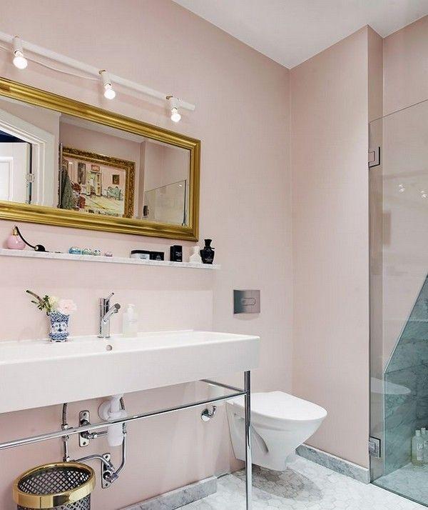 Пыльно розовый цвет, оттенки в интерьере ванной