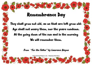 Remembrance Day poems - read online or print (and some copywork printables too)