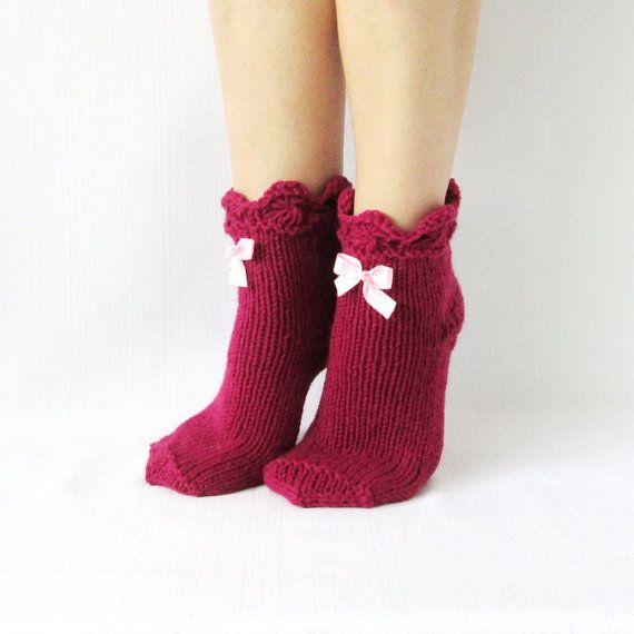 Sale! Burgundy color socks. Gifts ideas. Hand Knit socks. New Year gifts. Handmade socks. Warm Socks. Hosiery