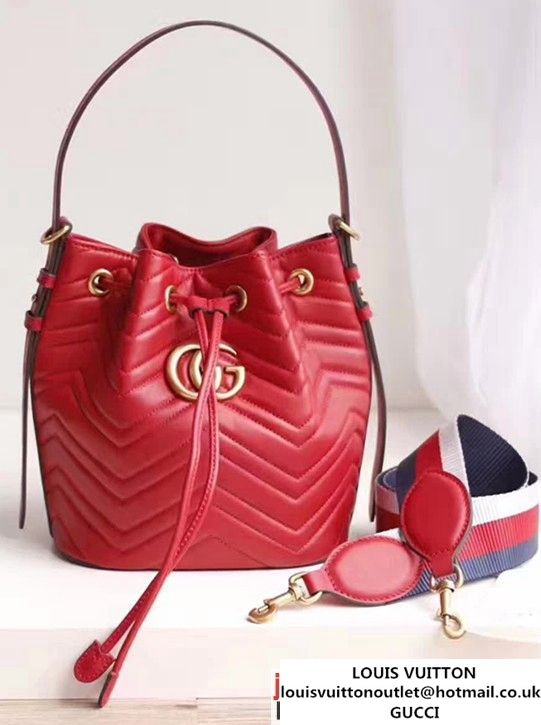 a97f011b8bab09 Gucci GG Marmont Quilted Leather Bucket Bag With Sylvie Web Strap 476674  Red 2017