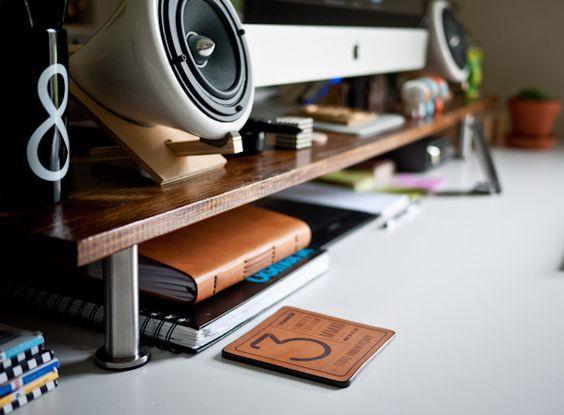 Ugmonk » Blog Archive » Custom Monitor Stand  IKEA: shelf = Ekby Tryggve ($7)  legs = 4″ Capita ($10).
