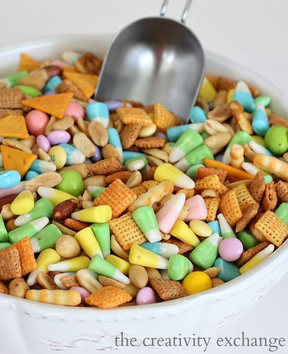 Sweet and Salty Spring Snack Mix (Easter candy corn, m&m's, cheddar chex mix)