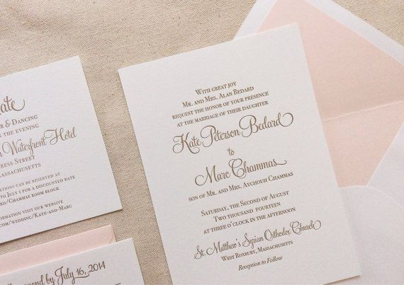 The Hydrangea Suite - Classic Letterpress Wedding Invitation Suite Gold with Blush Liner