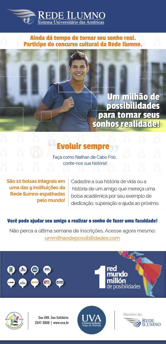 Divulgação do concurso 1 milhão de possibilidades, promovido pela Rede Ilumno.