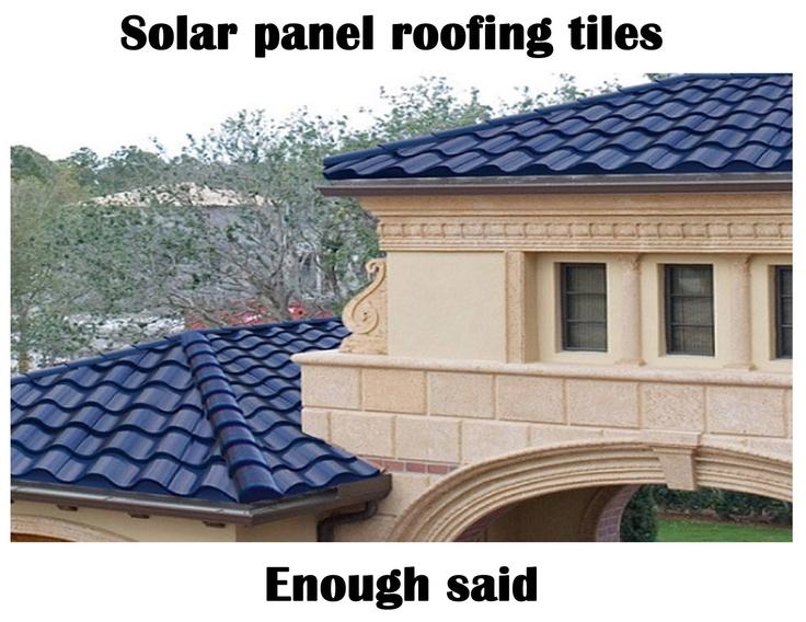 Beautiful blue tile solar roofing. Love it! Solar tiles
