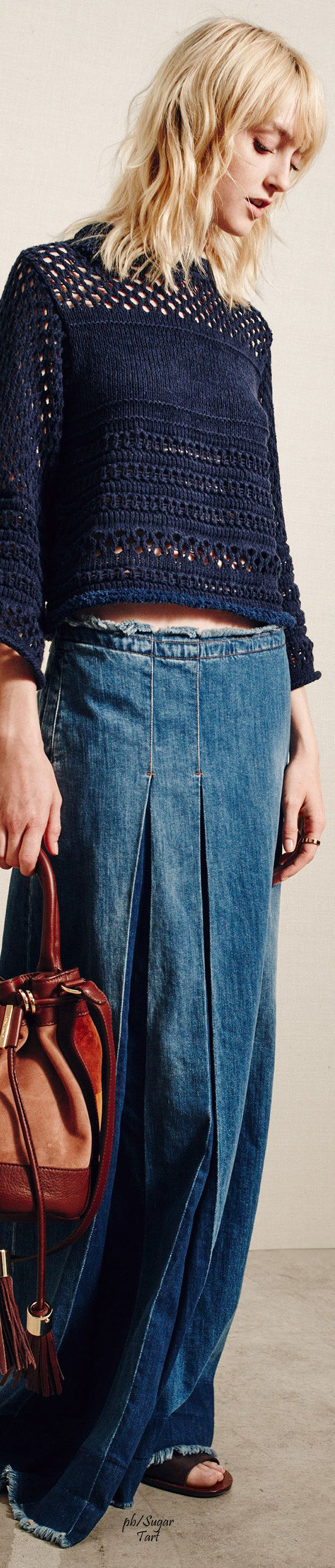 See by Chloe S-16 RTW: denim maxi skirt, knitted sweater.                                                                                                                                                     Mais