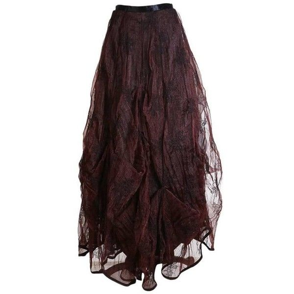 Preowned Kaat Tilley Black And Burgundy Crinkled Tulle Ball Gown Skirt ($590) ❤ liked on Polyvore featuring skirts, puff skirts, red, red tulle maxi skirt, long tulle skirt, crinkle skirt, red tulle skirt and long crinkle skirt