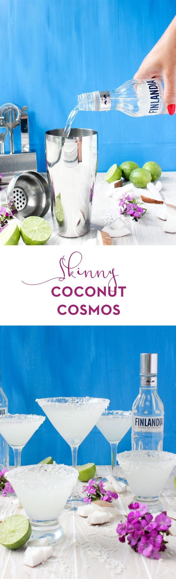 Ready in just 5 minutes and needing only 5 ingredients, these Skinny Coconut Cosmos are a refreshing, diet-friendly taste of summer! Tropical and delicious.  @finlandiavodka #sponsored #21+